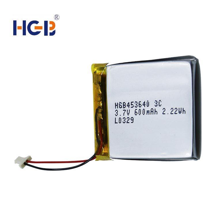 Flat lithium polymer battery 3.7V 3C 600mAh HGB453640
