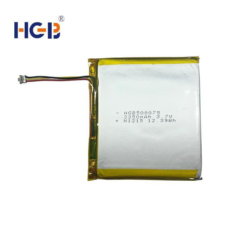 Flat lithium polymer battery 3.7V 1C 3350mAh HGB508075