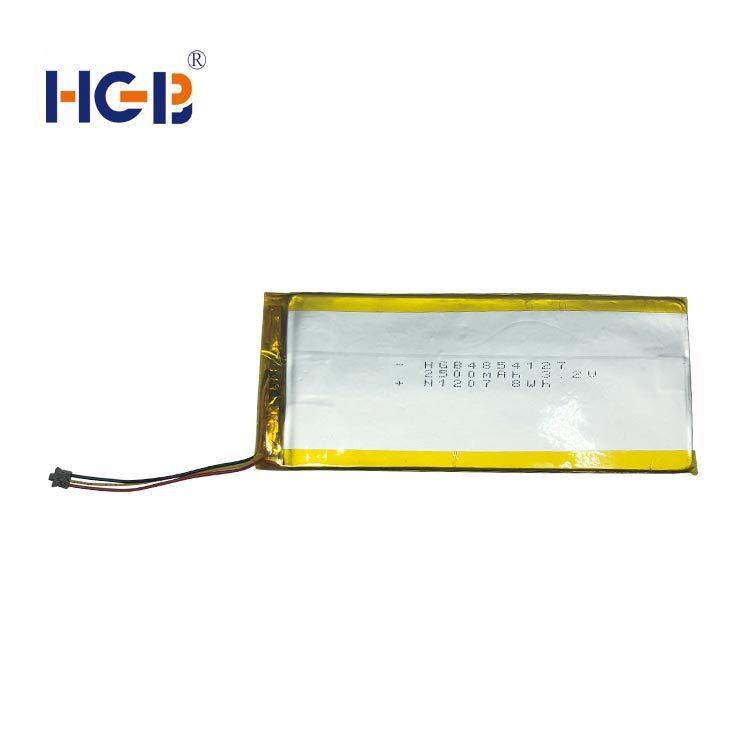 Flat lithium polymer battery 3.2V 1C 2500mAh HGB4854127