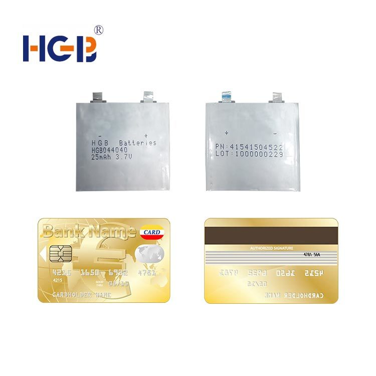 Ultra-thin lithium polymer battery 3.7V 1C 25mAh HGB044040